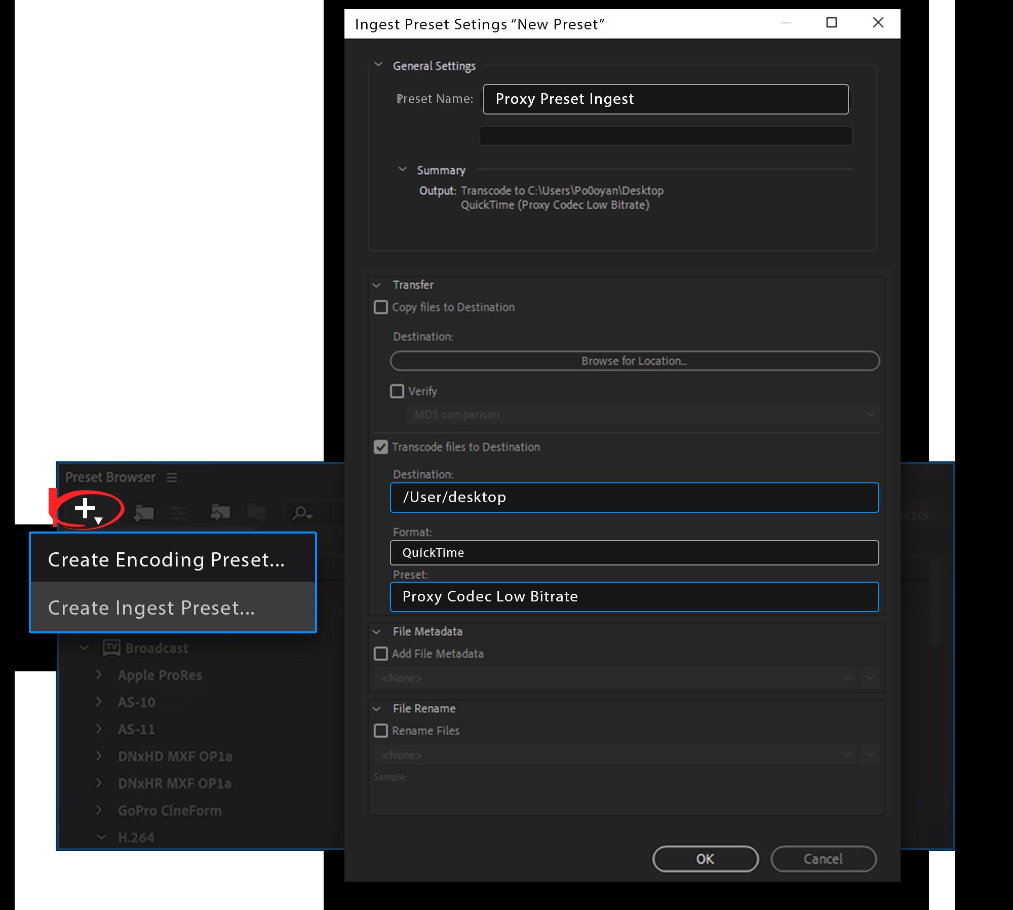 4k video editing using proxy premiere pro ingest preset